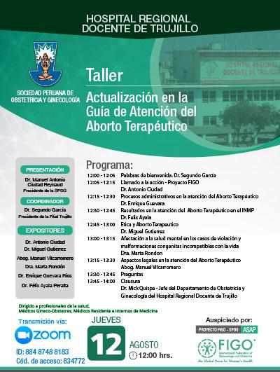 Sesión Virtual Zoom – Taller: ACTUALIZACIÓN EN LA GUÍA DE ATENCIÓN DEL ABORTO TERAPÉUTICO – 12 de agosto de 2021