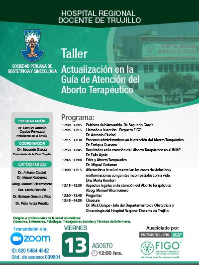 Sesión Virtual Zoom – Taller: ACTUALIZACIÓN EN LA GUÍA DE ATENCIÓN DEL ABORTO TERAPÉUTICO – 13 de agosto de 2021