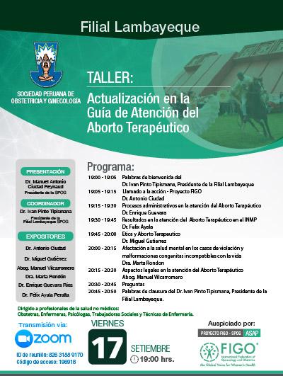 Sesión Virtual Zoom – Taller: ACTUALIZACIÓN EN LA GUÍA DE ATENCIÓN DEL ABORTO TERAPÉUTICO – 17 de setiembre de 2021