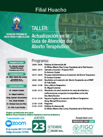 Sesión Virtual Zoom – Taller: ACTUALIZACIÓN EN LA GUÍA DE ATENCIÓN DEL ABORTO TERAPÉUTICO – 23 de setiembre de 2021
